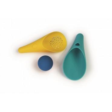 Quut Cuppi Zestaw łopatka, sitko i piłeczka Lagoon Green + Mellow Yellow, piłka Deep Blue