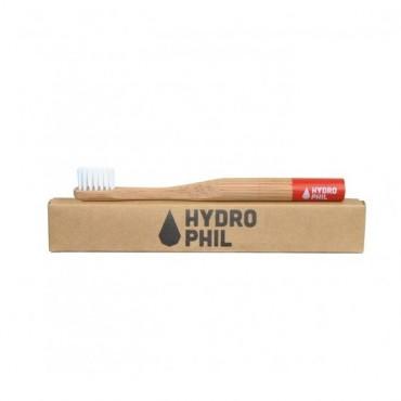 Naturalna, wegańska szczoteczka do zębów z biodegradowalnego bambusa, DLA DZIECI, Czerwona, Hydrophil