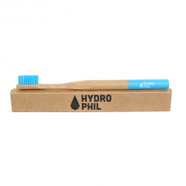 Naturalna, wegańska szczoteczka do zębów z biodegradowalnego bambusa, WŁOSIE ŚREDNIE, NiIEBIESKA, Hydrophil