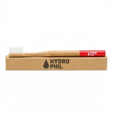 Naturalna, wegańska szczoteczka do zębów z biodegradowalnego bambusa, WŁOSIE ŚREDNIE, Czerwona, Hydrophil