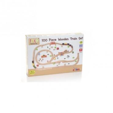 Drewniana kolejka zestaw 100 elementów T0098 Tidlo
