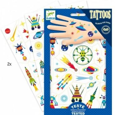 Tatuaże Kosmos świecące w ciemności Djeco