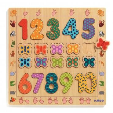 Drewniane cyfry do nauki liczenia 1 do 10 Djeco
