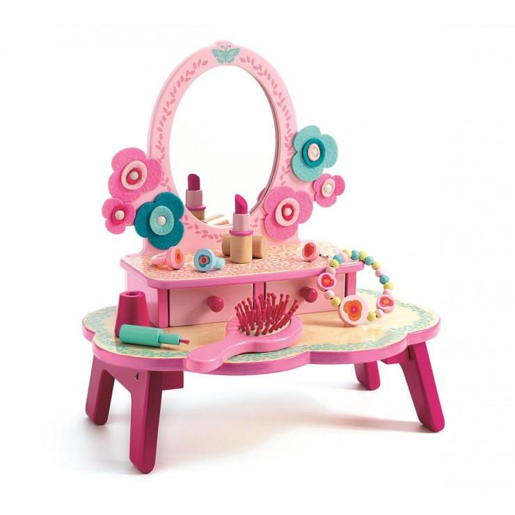 Drewniana toaletka - różowa Djeco