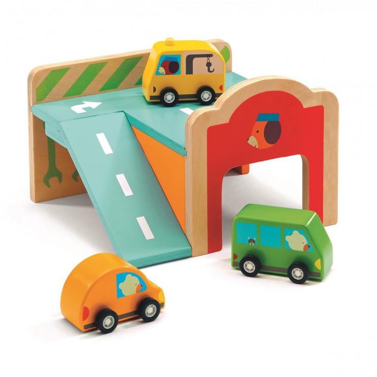 Drewniana zabawka mini Garaż Djeco