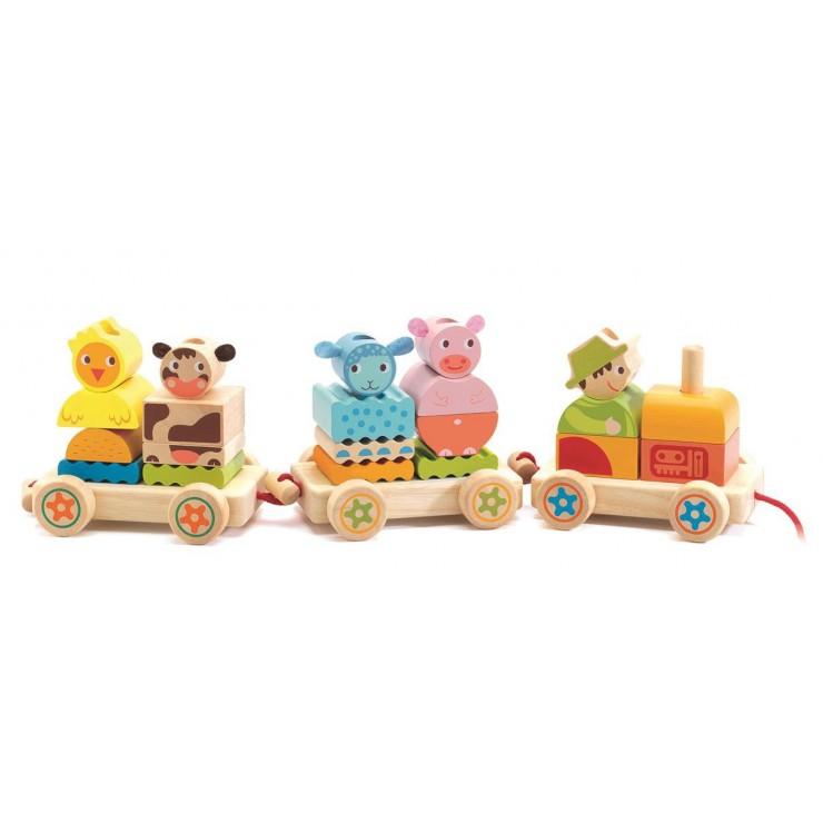 Drewniany pociąg Zwierzątka Djeco