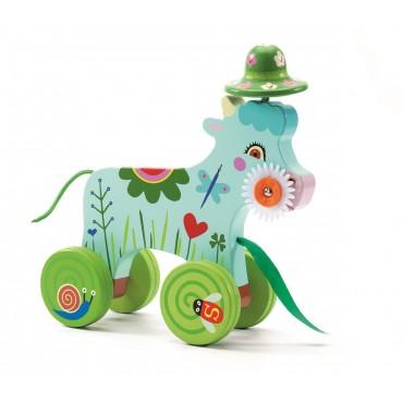 Drewniana zabawka do ciągania Krówka Djeco