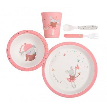 Różowy zestaw naczyń dla dzieci Moulin Roty