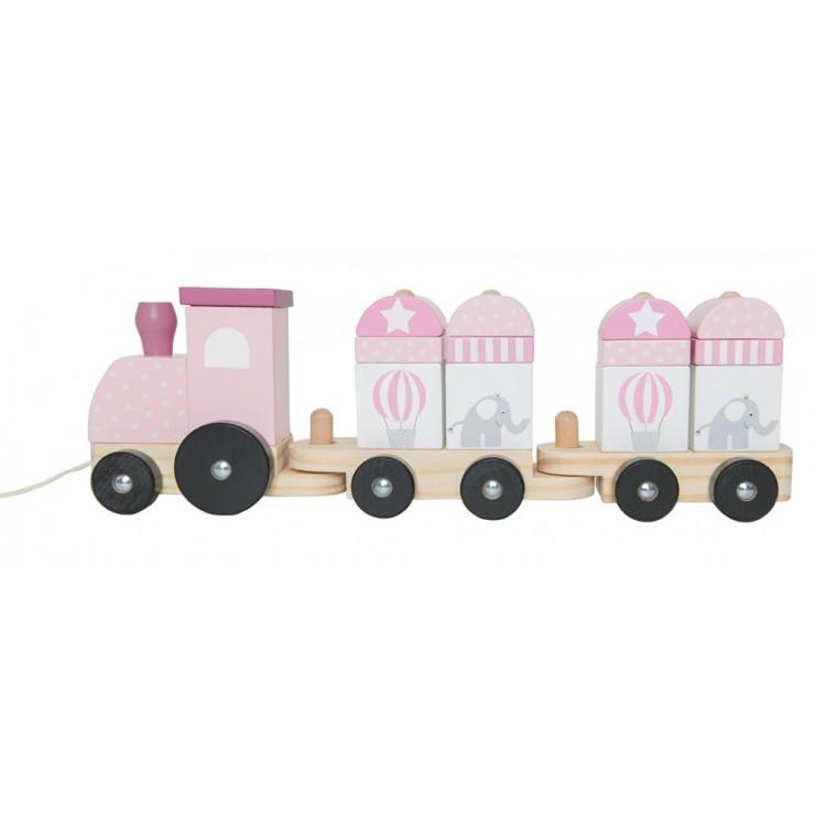 Drewniany pociąg z klockami różowy Jabadabado