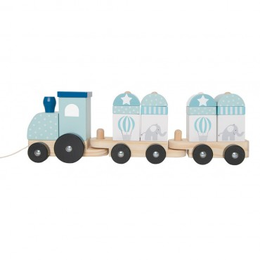 Drewniany pociąg z klockami niebieski Jabadabado