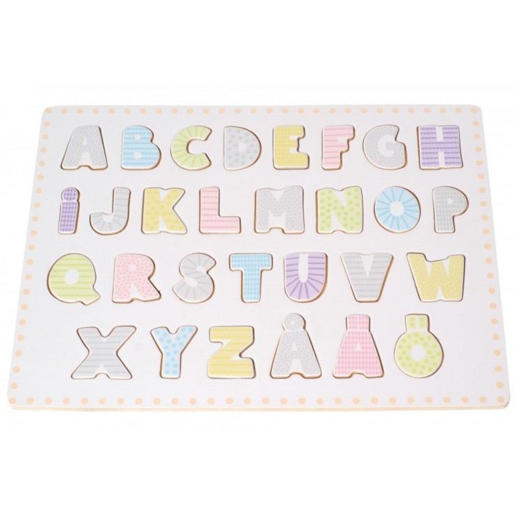 Drewniane puzzle alfabet abecadło Jabadabado