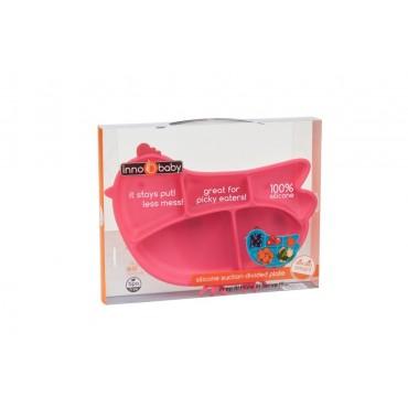 Silikonowy talerzyk z przegródkami i przyssawkami, różowa kurka Innobaby