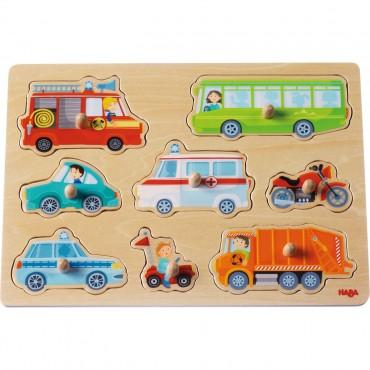 Puzzle nakładane pojazdy Haba