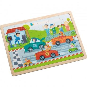 Puzzle drewniane wyścigówki Haba