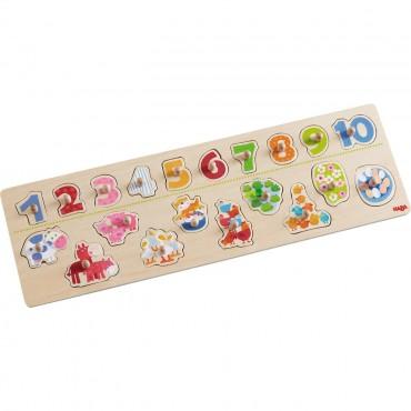 Puzzle nakładane zwierzątka i numery Haba