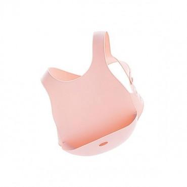Śliniak silikonowy z kieszonką różowy Minikoioi