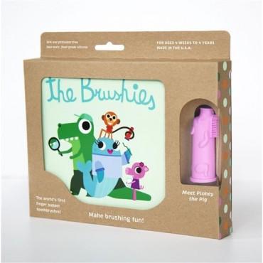 Szczoteczka silikonowa na palec Świnka Pinkey z książeczką The Brushies