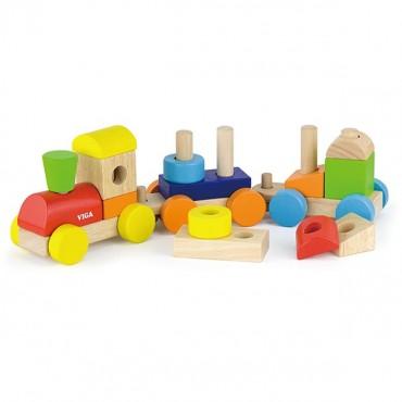 Barwna kolejka z klockami Viga