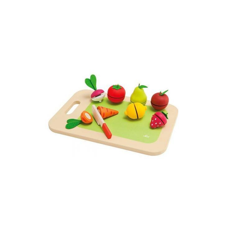 Drewniana deska do krojenia z owocami i warzywami 9 el. Sevi.