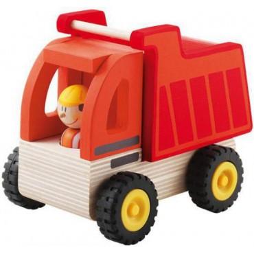 Czerwona ciężarówka z kierowcą Sevi