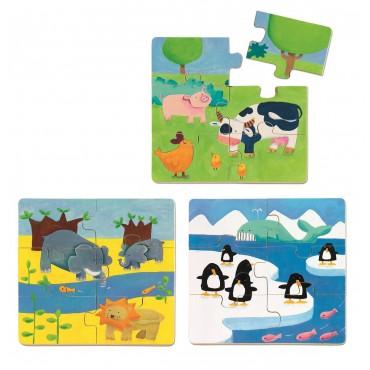 Puzzle 6-elementowe Zwierzątka DuoAnimo Djeco