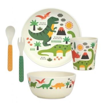 Bambusowy Zestaw Obiadowy Dinozaury Petit Collage