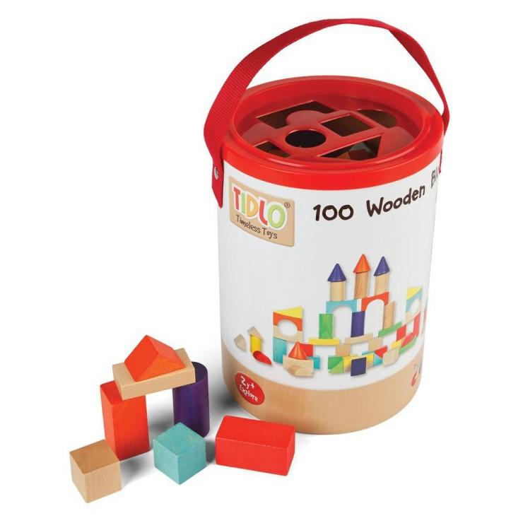 100 drewnianych klocków Tidlo