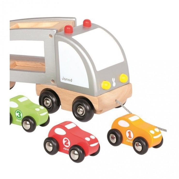 Samochód drewniany laweta do ciągnięcia Janod