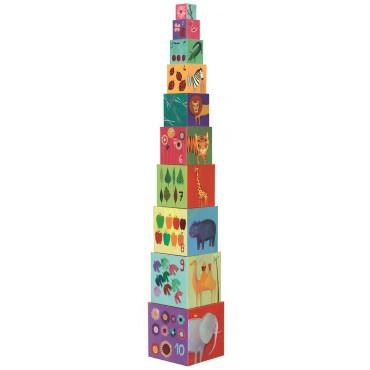 Układanka wieża z klocków Zwierzęta Djeco