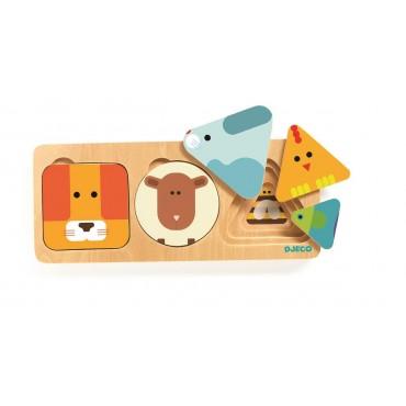 Puzzle drewniane warstwowe Zwierzątka Djeco