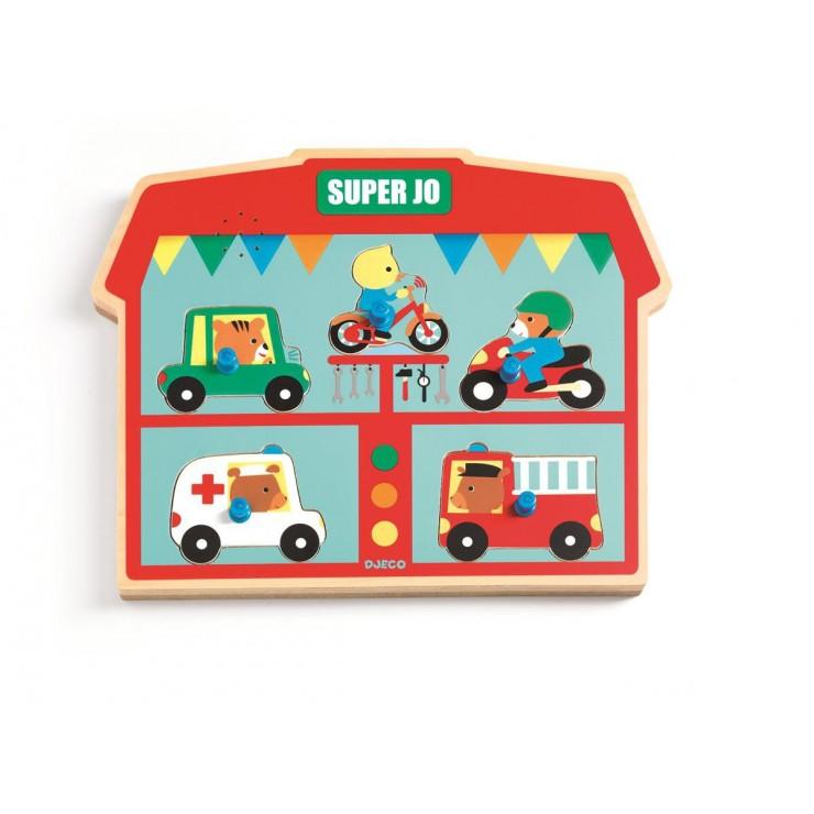 Puzzle drewniane z dźwiękiem Super Jo Djeco