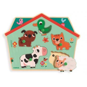 Puzzle drewniane z dźwiękiem Farma Djeco