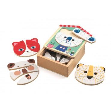 Drewniane puzzle Twarze Djeco
