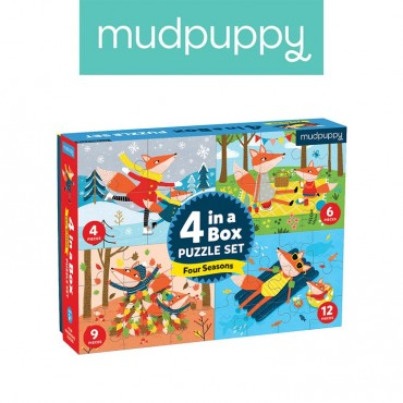 Puzzle 4 w 1 Pory roku 4, 6, 9 i 12 elementów 2+ Mudpuppy