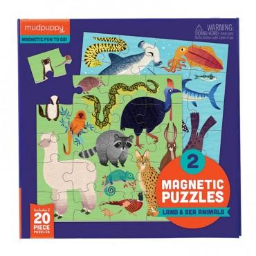 Puzzle magnetyczne Zwierzęta lądowe i wodne 4+ Mudpuppy