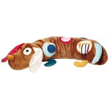 Duża aktywizująca poduszka wałek Piesek z lusterkiem, grzechotką, gryzakiem, dzwoneczkiem i szeleszczącą folią 6m+ PlayQ SIGIKID