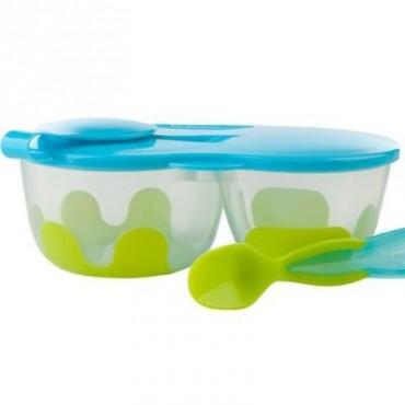 Podwójny pojemnik na żywność zielono-niebieski b.box