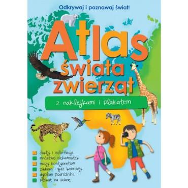 Atlas świata zwierząt z naklejkami i plakatem