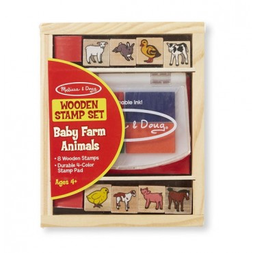Zestaw drewnianych pieczątek baby farm Melissa&Doug