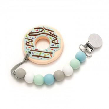 Gryzak silikonowy z zawieszką Mint Donut Loulou LOLLIPOP