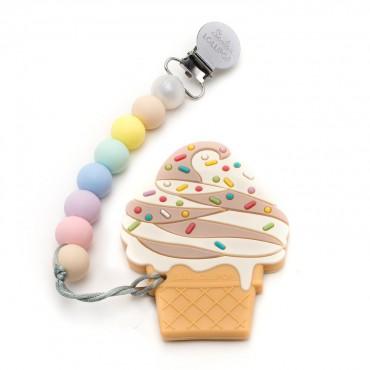 Gryzak silikonowy z zawieszką Chocolate Ice Cream Loulou LOLLIPOP
