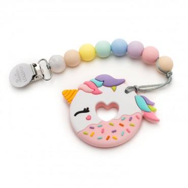 Gryzak silikonowy z zawieszką Pink Unicorn Donut Cotton Candy Loulou LOLLIPOP