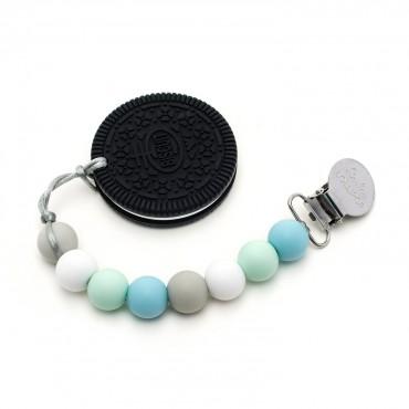 Gryzak silikonowy z zawieszką Cookie Blue Mint Loulou LOLLIPOP