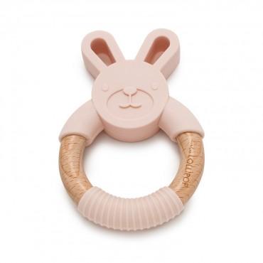 Gryzak silikonowo-drewniany Bunny Blush Pink Loulou LOLLIPOP