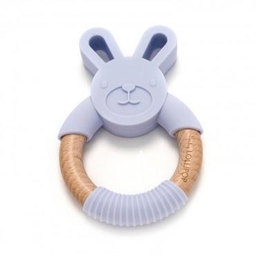 Gryzak silikonowo-drewniany Bunny Light Grey Loulou LOLLIPOP