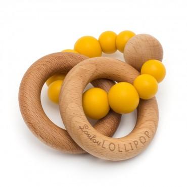 Gryzak silikonowo-drewniany Bubble Golden Mustard Loulou LILLIPOP