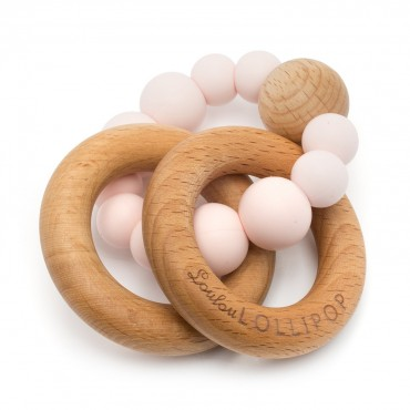 Gryzak silikonowo-drewniany Bubble Pink Quartz Loulou LOLLIPOP