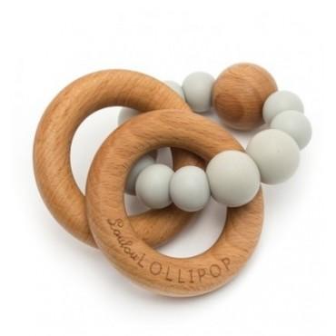 Gryzak silikonowo-drewniany Bubble  Cool Gray Loulou LOLLIPOP