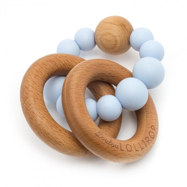 Gryzak silikonowo-drewniany Bubble Baby Blue Loulou LOLLIPOP
