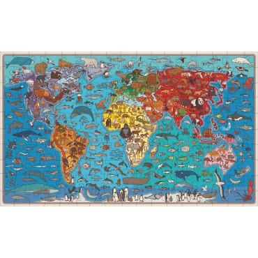 Zwierzęta na mapie. Puzzle